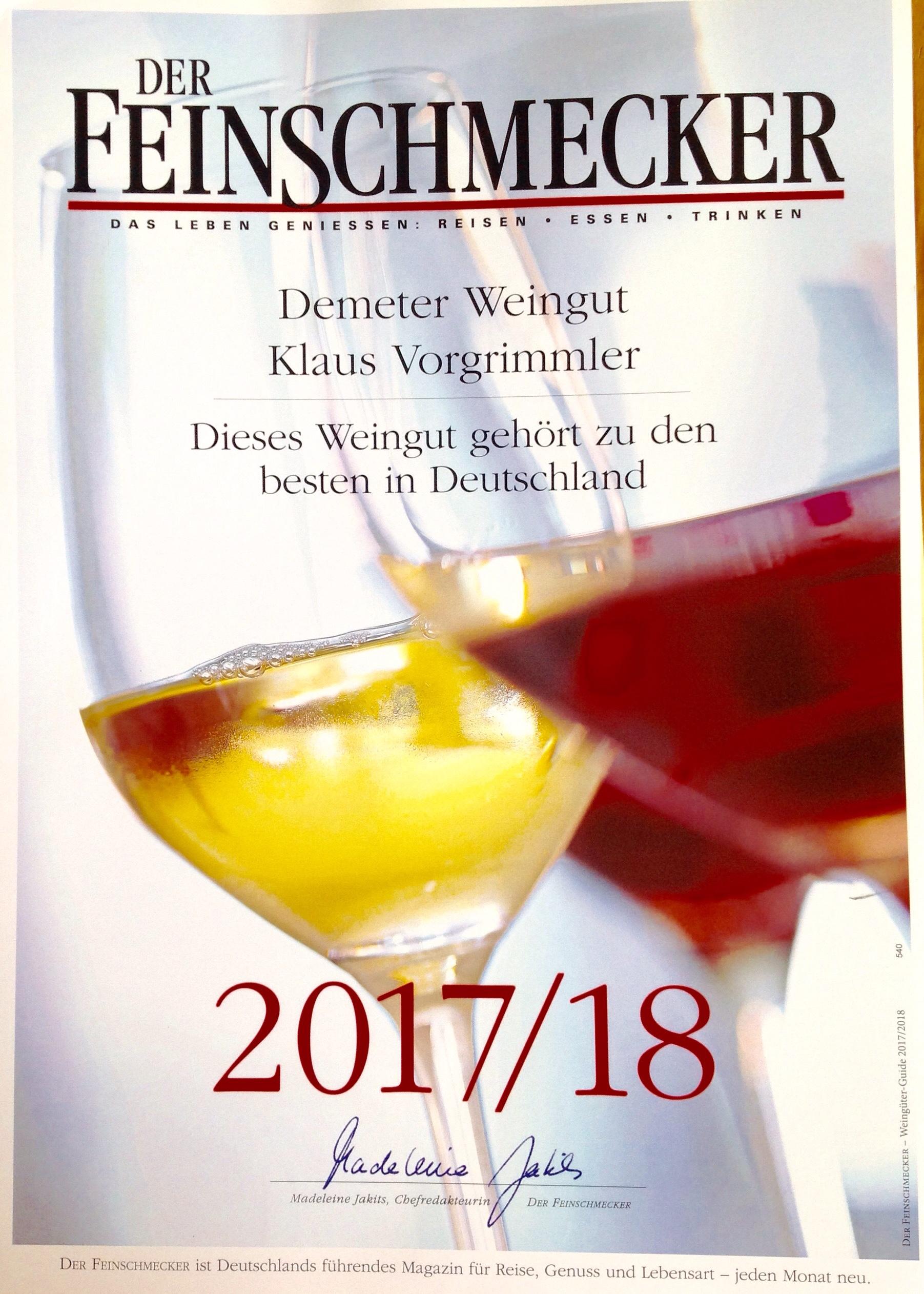 der Feinschmecker: wir gehört zu den besten Weingüter Deutschland