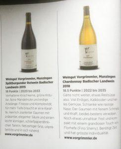 Spätburgunder 2015 & Chardonnay 2018 - Vorgrimmler in Vinum Magazine
